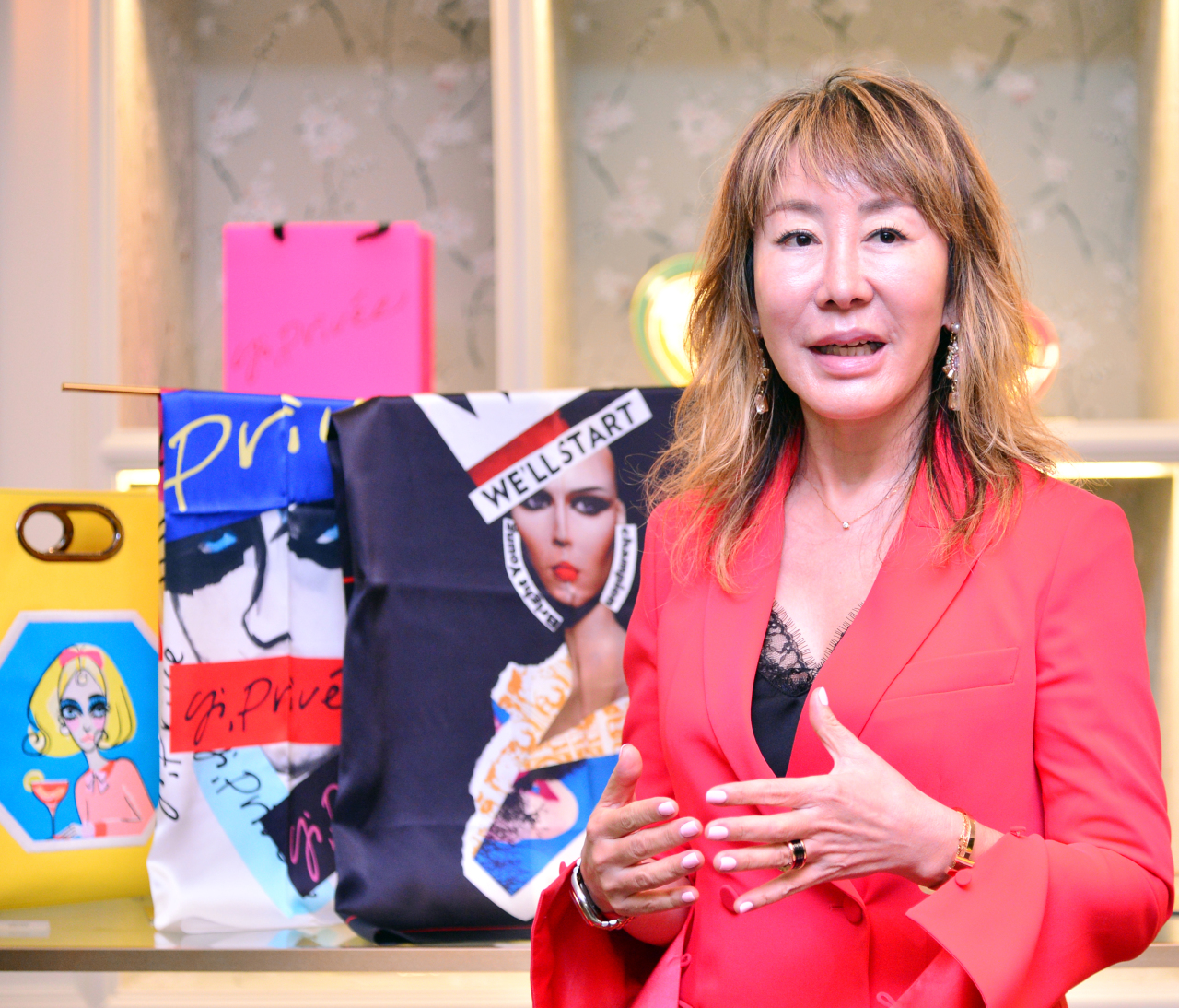 Yi Yoon-shin speaks during an interview with The Korea Herald at Yido's flagship store in Gahoe-dong, central Seoul. (Park Hyun-koo / The Korea Herald)
