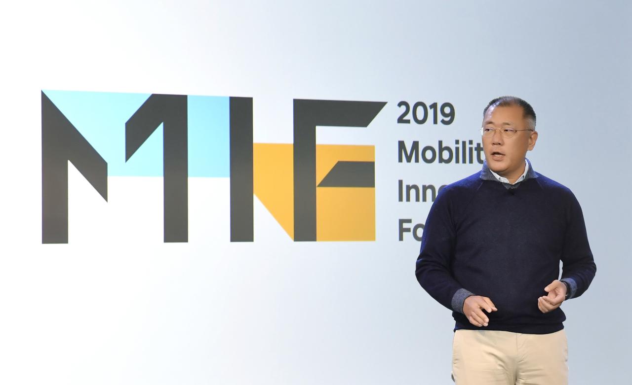 Chung Euisun, executive vice chairman of Hyundai Motor Group, speaks at the Mobility Innovators Forum 2019, held in San Francisco on Thursday. (Hyundai Motor)