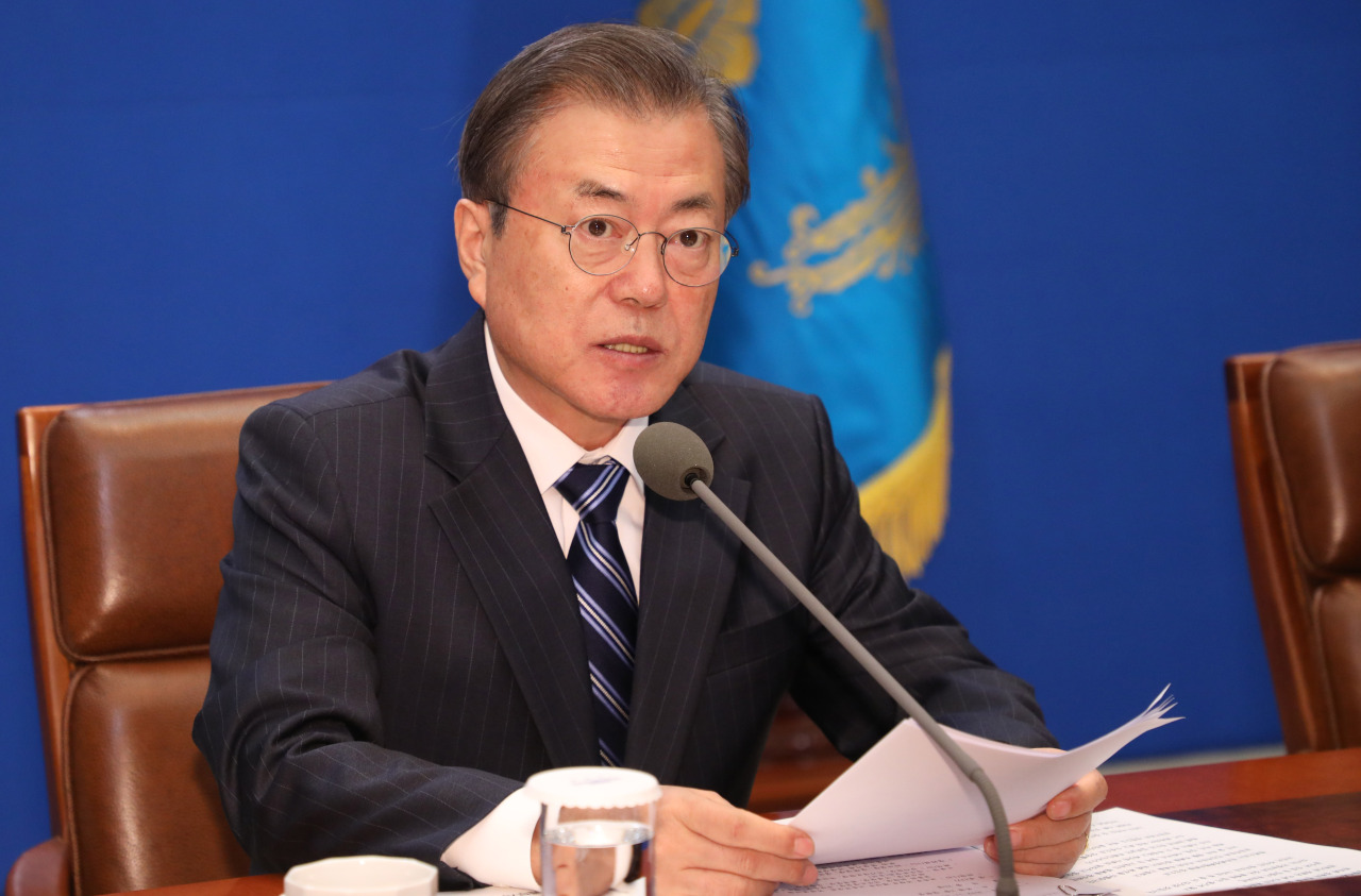 President Moon Jae-in speaks at the anti-corruption meeting on Friday. Yonhap