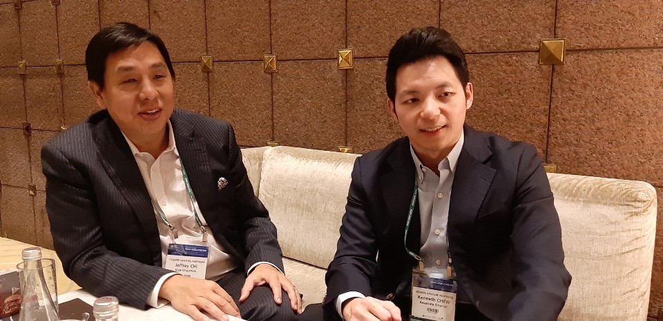 Jeffrey Chi, vice chairman of Vickers Venture Partners, and Kenneth Chew, associate director, have an interview with The Korea Herald. (Shin Ji-hye/The Korea Herald)
