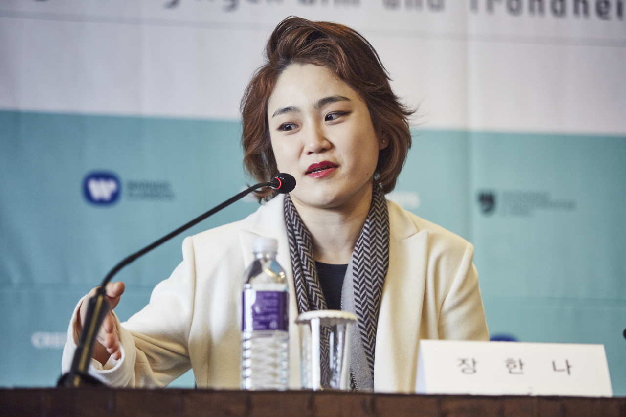 Conductor Chang Han-na speaks at a press conference held Monday at The Plaza in Gwanghwamun, central Seoul. (Credia)
