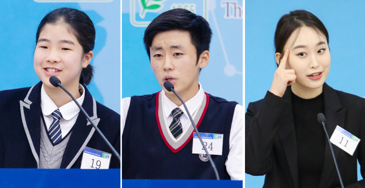 Winners of the 2019 IYF English Speech Contest, from left: Lee Jae-hyun of Cheongju Lincoln House School, Choi Seung-gyu of Daegu Lincoln House School and Hong Sa-hee of Sejong University (IYF)