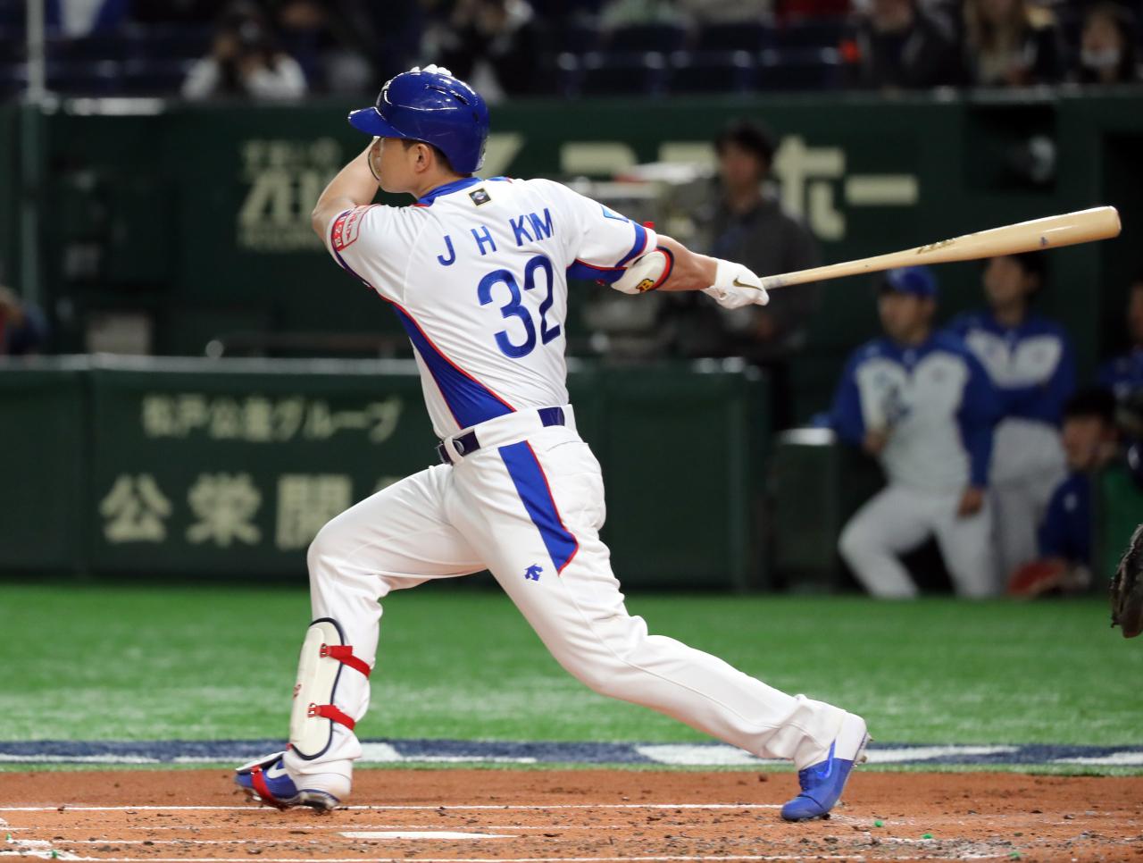 Designated hitter Kim Jae-hwan (Yonhap)