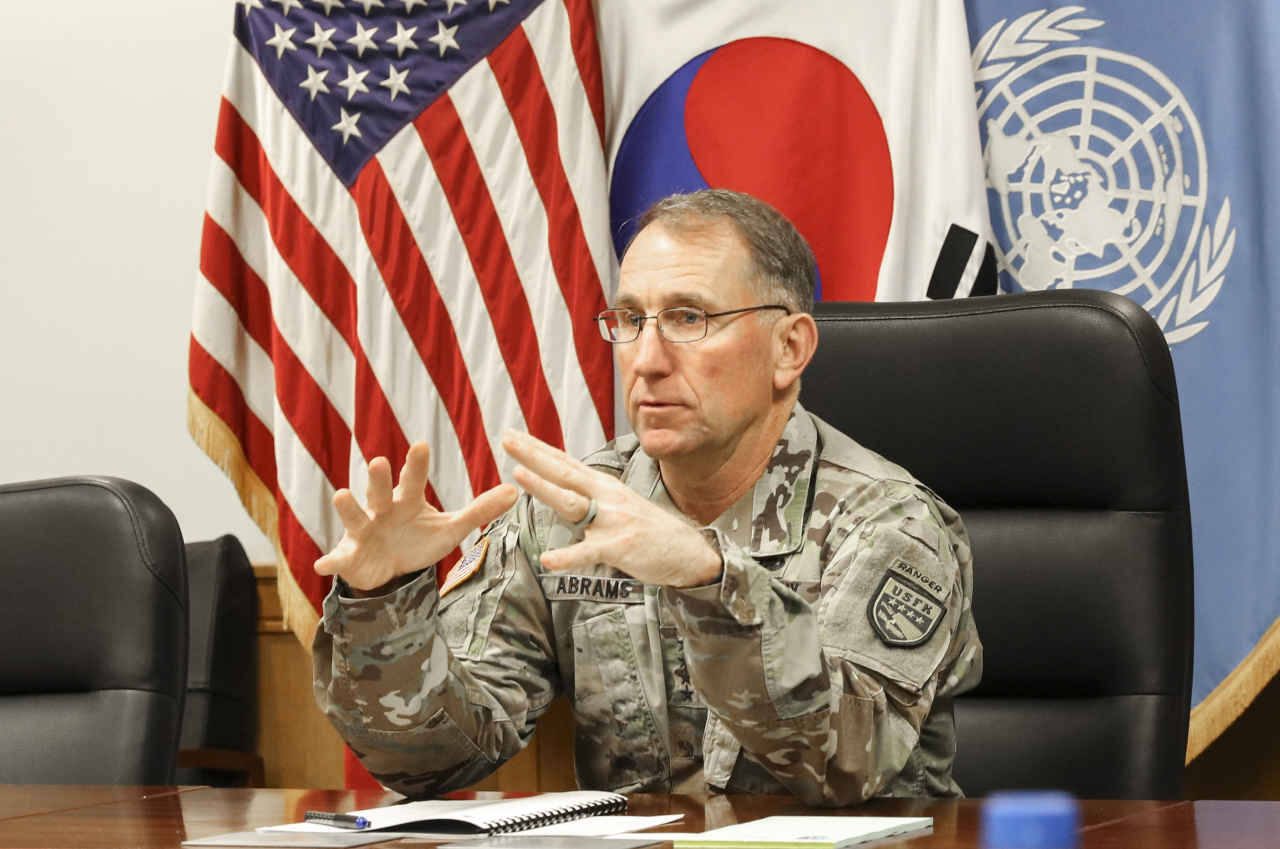 Gen. Robert Abrams, commander of United States Forces Korea, US-ROK Combined Forces Command and the United Nations Command, speaks to reporters during a joint press interview at Camp Humphreys in Pyeongtaek, Gyeonggi Province, Tuesday. (USFK-Yonhap)