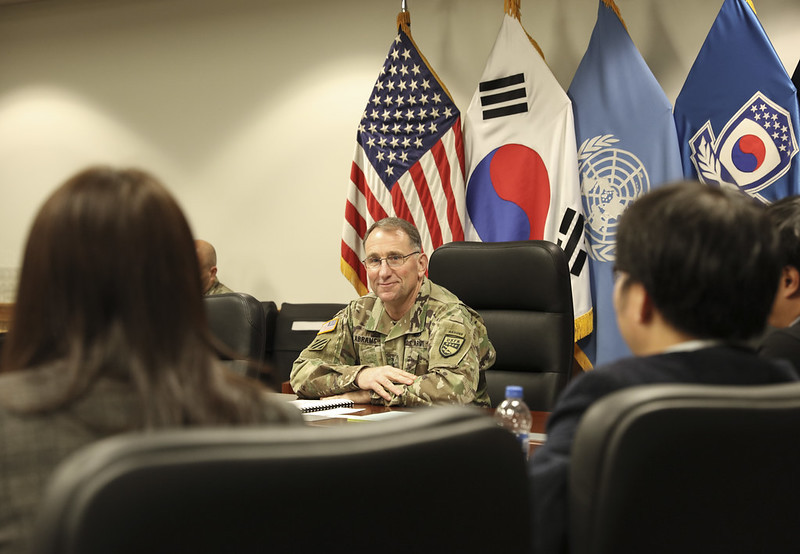 Gen. Robert Abrams, commander of United States Forces Korea, US-ROK Combined Forces Command and the United Nations Command, speaks to reporters during a joint press interview at Camp Humphreys in Pyeongtaek, Gyeonggi Province, Tuesday. (USFK)