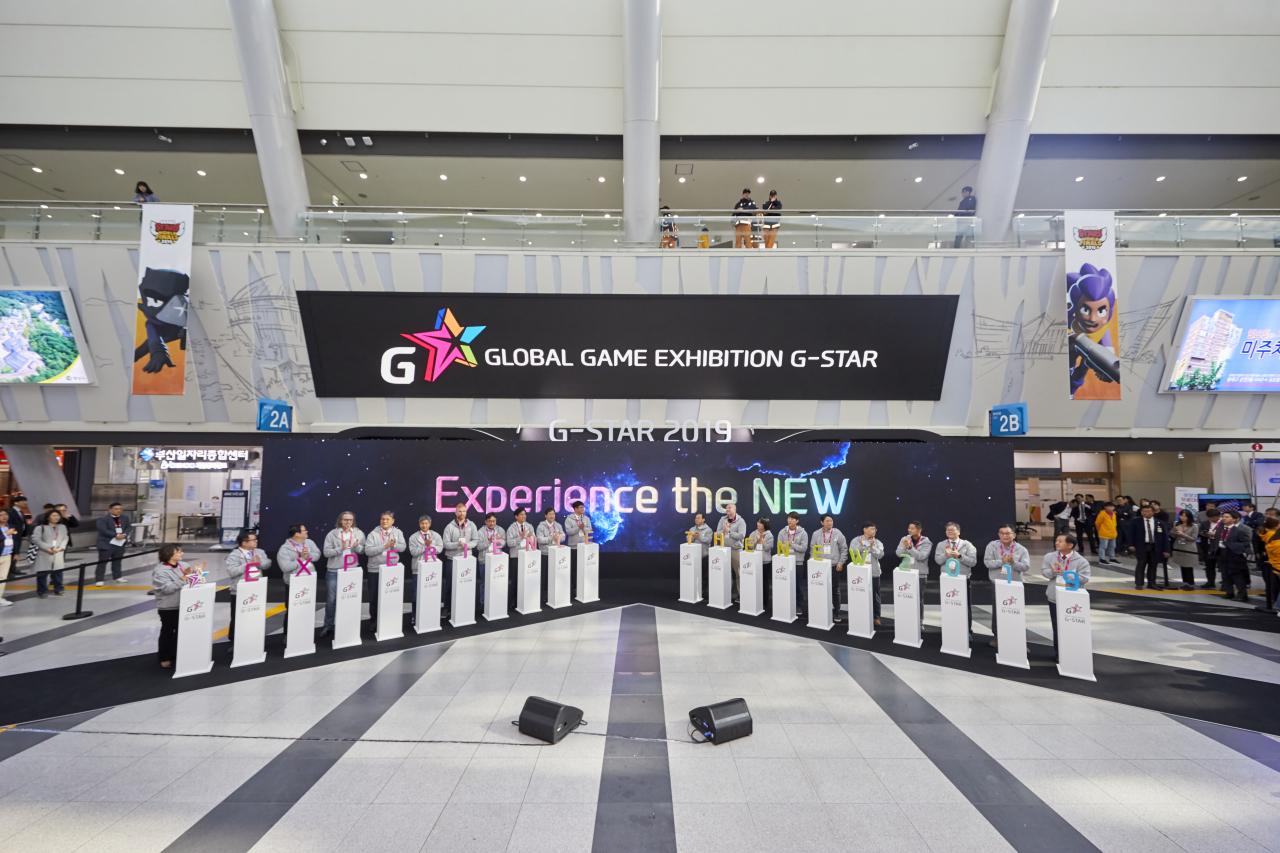 Guests including Busan Mayor Oh Keo-don, Culture Minister Park Yang-woo take part in the opening ceremony of G-Star 2019 with the CEOs of Pearl Abyss, Netmarble, Afreeca TV as well as top officials from Supercell and Google Korea. (G-star)