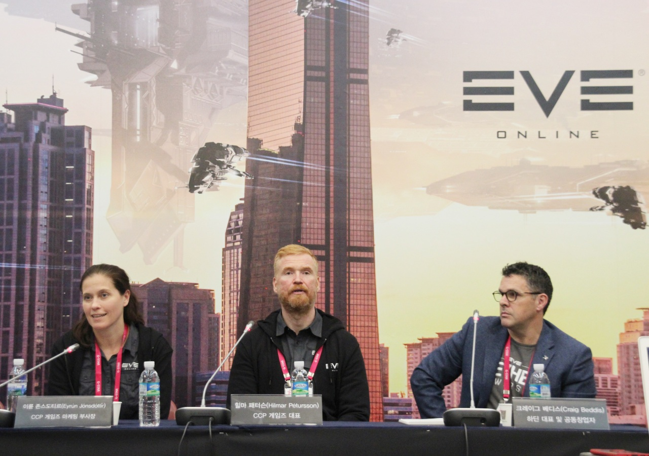 Icelandic game company CCP's CEO Hilmar Petursson (center) attends G-Star 2019 in Busan. (Lim Jeong-yeo/The Korea Herald)
