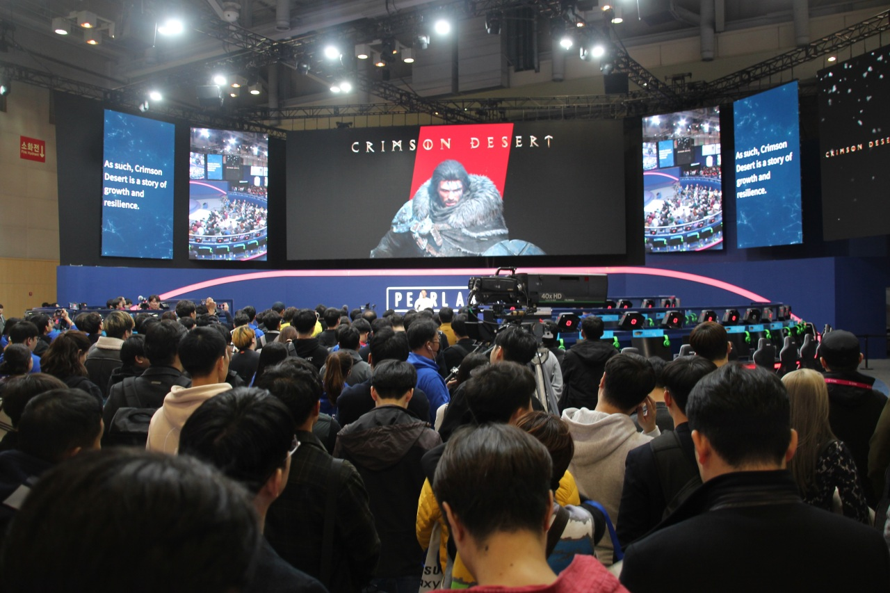 Pearl Abyss introduces upcoming game Crimson Desert at G-Star 2019 (Lim Jeong-yeo/The Korea Herald)