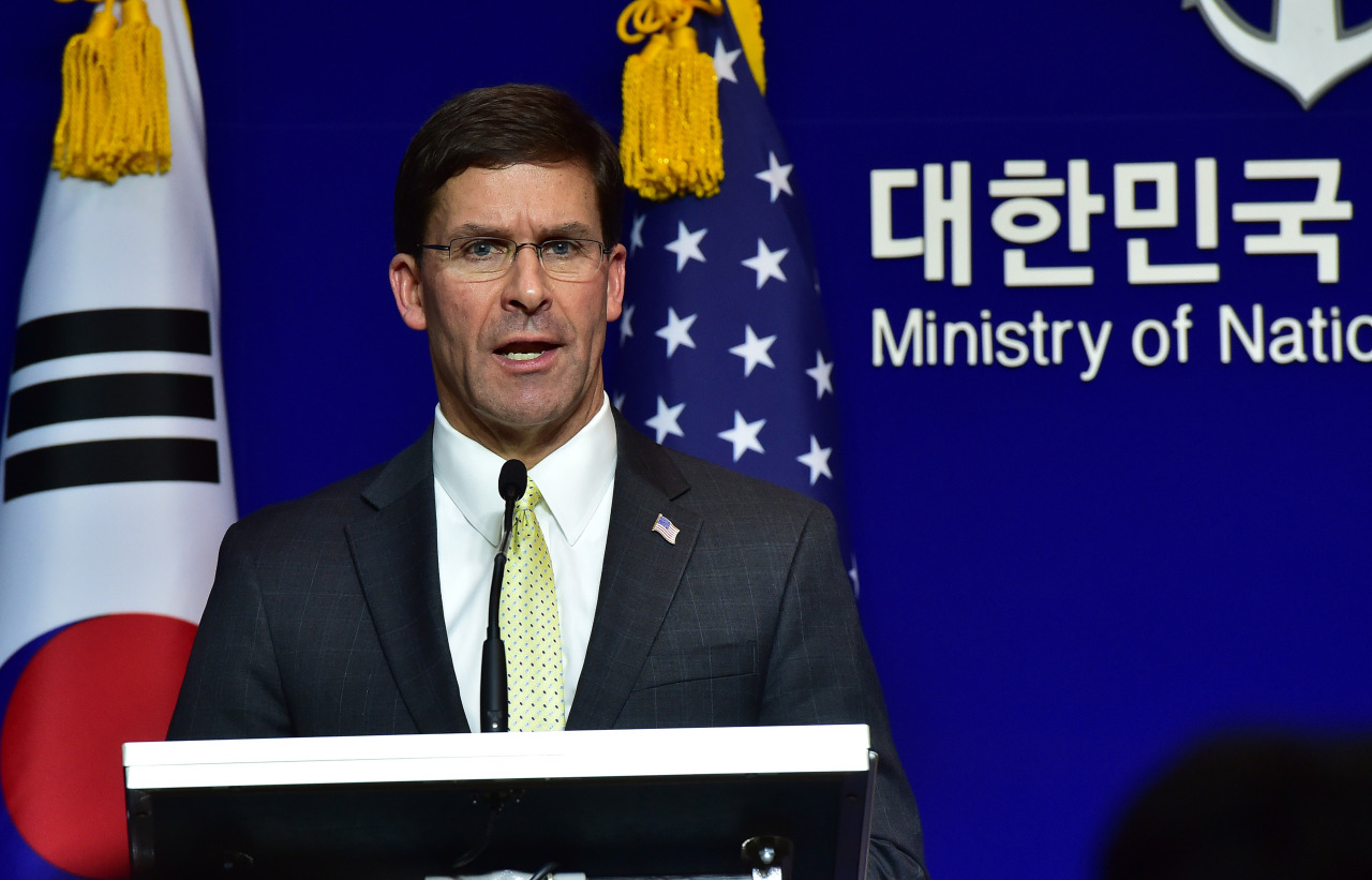 US Defense Secretary Mark Esper speaks during a joint press conference after the 51st Security Consultative Meeting at the Defence Ministry in Seoul on Friday. (Yonhap)