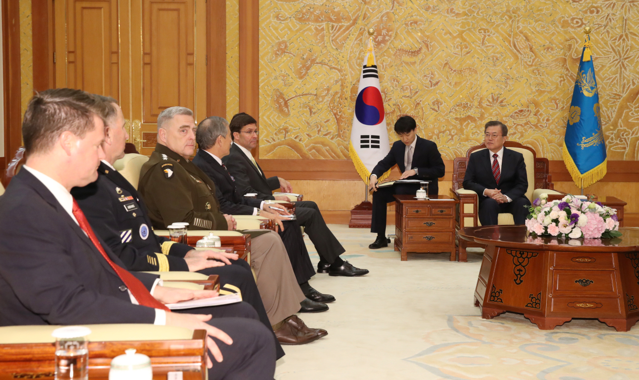 President Moon Jae-in meets with top US defense officials at the presidential office in Seoul on Friday. Yonhap