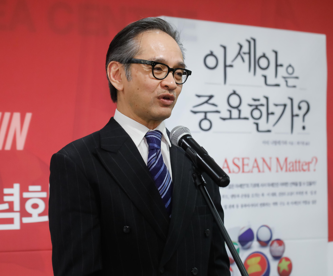 "Former Indonesian Foreign Minister Marty Natalegawa speaks during the launch of the Korean edition of his book ""Does ASEAN Matter"" in central Seoul on Nov 12. (ASEAN-Korea Centre)"