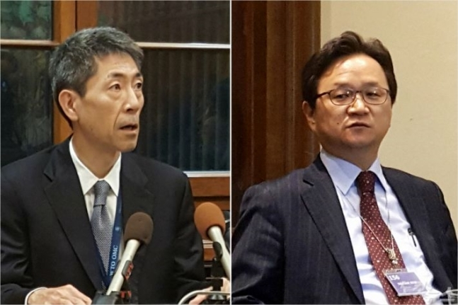 Chung Hae-kwan (right), director general in charge of legal affairs at the Trade Ministry and Junichiro Kuroda, who represents the Japanese Trade Ministry (Yonhap)