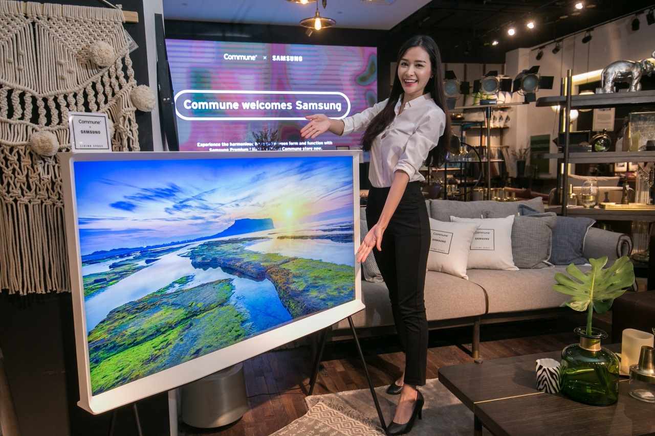 A model introduces QLED The Serif TV in Singapore on Wednesday. (Samsung Electronics)