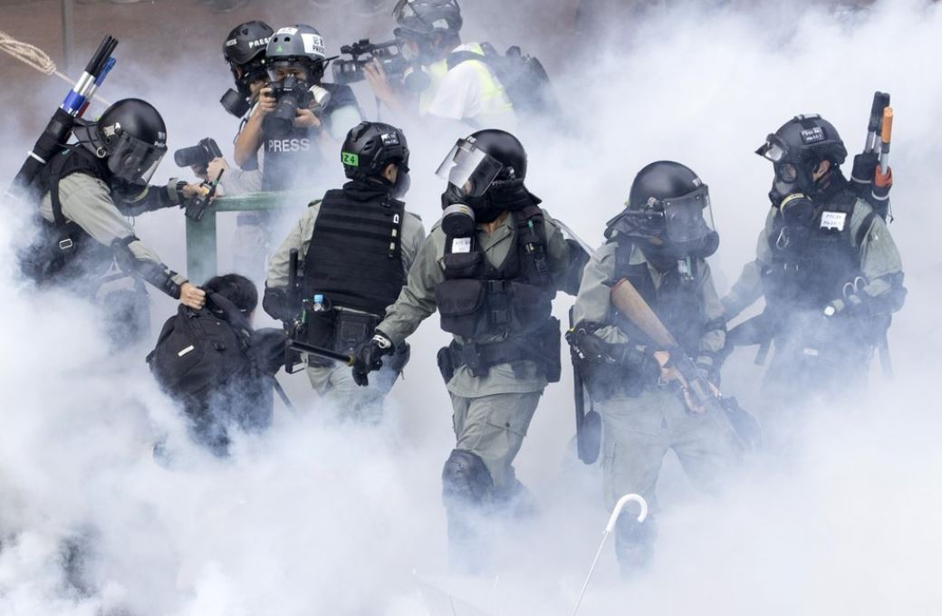 Hong Kong police in riot gear (AP)