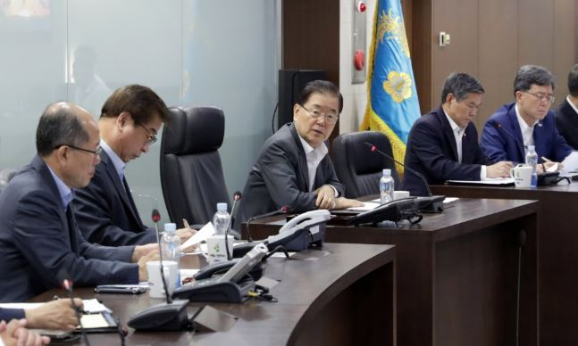 Aug. 2 photograph of national security director Chung Eui-yong and other officials at a National Security Council meeting. Yonhap