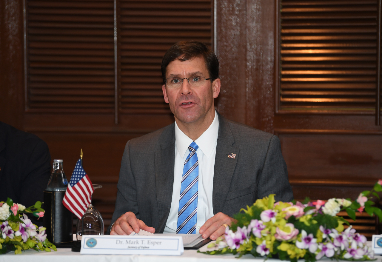 US Secretary of Defense Mark Esper (Yonhap)