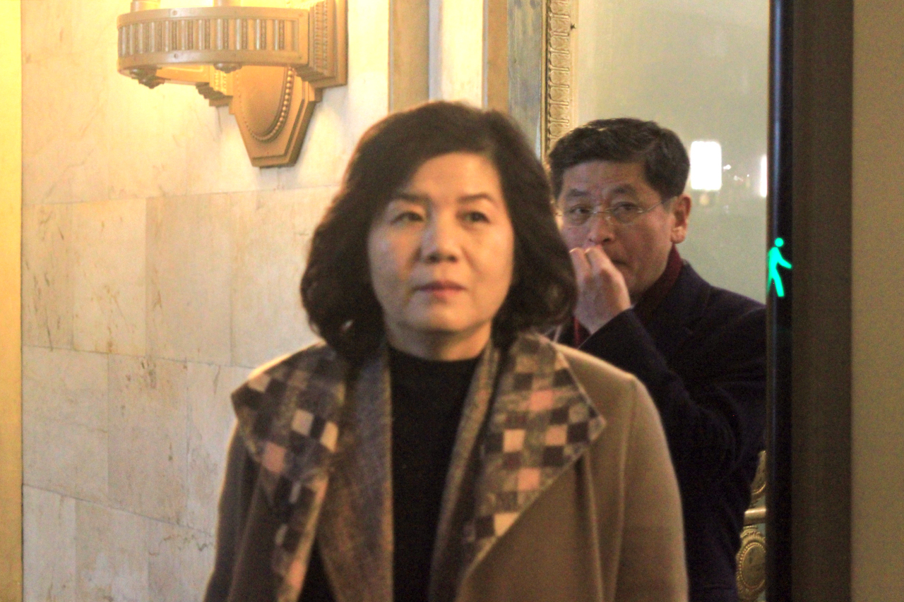 North Korean First Vice Foreign Minister Choe Son-hui leaves Russia's Ministry of Foreign Affairs building in Moscow on Friday. (Yonhap)