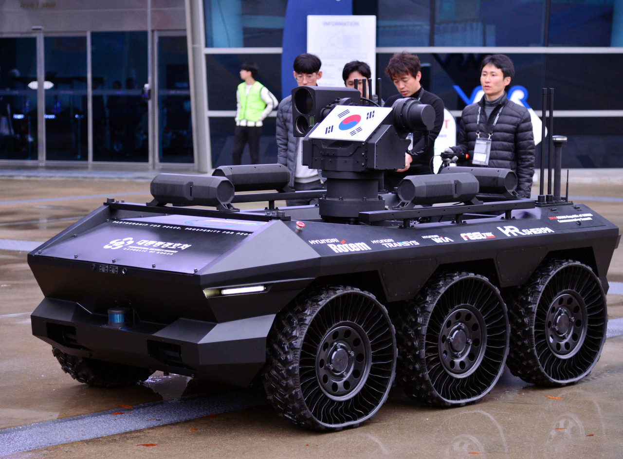 An automated reconnaissance vehicle from the Presidential Security Service is seen on a test run Sunday, ahead of the ASEAN-ROK Commemorative Summit at Bexco in Busan. (Park Hyun-koo/The Korea Herald)