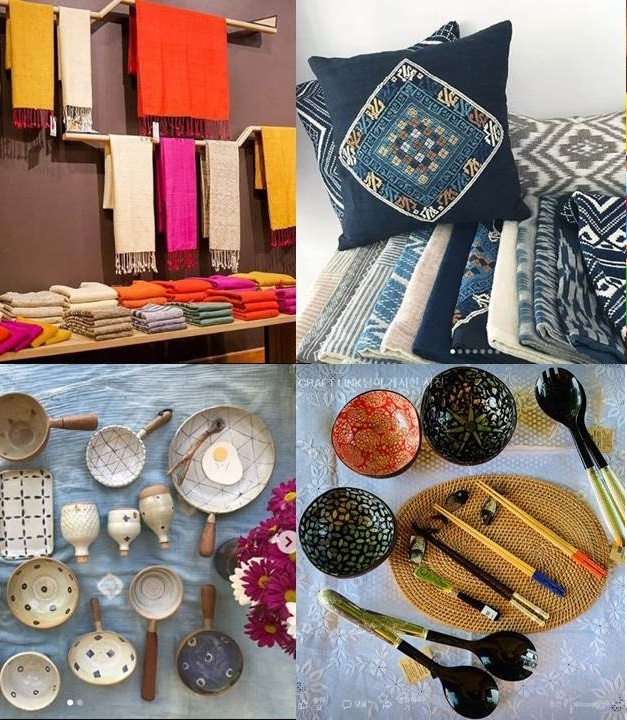 Clockwise from top left: Cambodian silk products, Laotian homeware, Myanmar lacquerware and Thai pottery. (ASEAN Culture House)