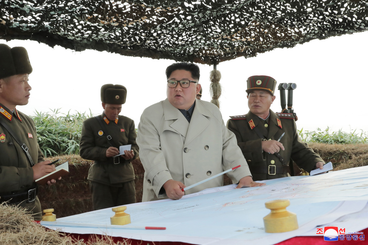 North Korean leader Kim Jong-un conducts field guidance of Changrin Islets, Korean Central News Agency reported on Monday. (Yonhap)