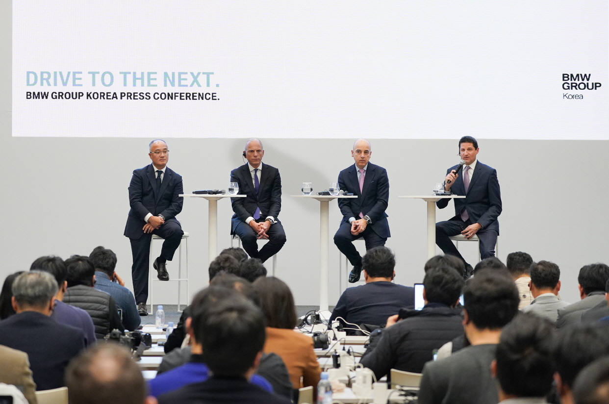 From left: BMW Group Korea CEO Han Sang-yun, member of the Board of Management of BMW AG Customer, Brands, Sales Pieter Nota, member of the Board of Management of BMW AG Finance Dr. Nicolas Peter and Head of Corporate Communications Asia Pacific, Africa and Importer Markets Adam Sykes answer reporters's questions during a press conference held at BMW Group Korea's Driving Experience Center in Yeongjongdo, Incheon, Wednesday. (BMW Group Korea)
