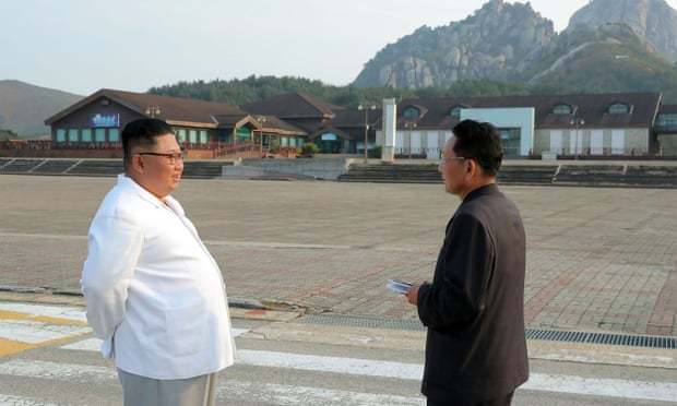 North Korean leader Kim Jong-un inspects Kumgangsan. (KCNA)