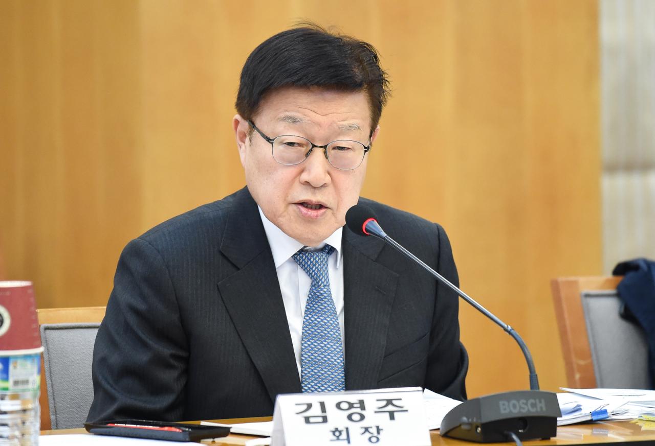 KITA Chairman Kim Young-ju speaks at a press briefing Thursday. (KITA)