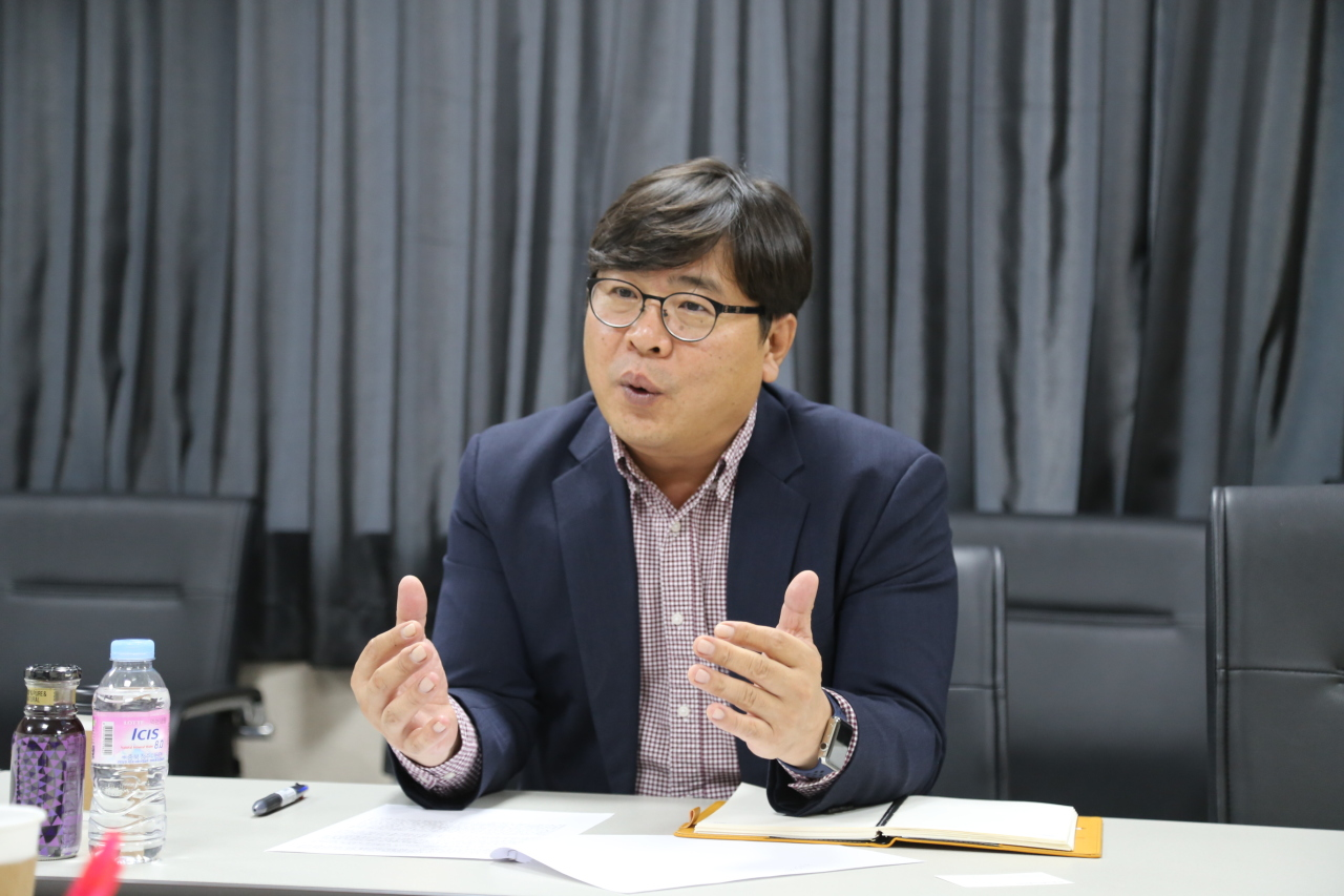 Choi Hak-jong, head of research and development at World Institute of Kimchi, speaks during an interview earlier this month. (World Institute of Kimchi)