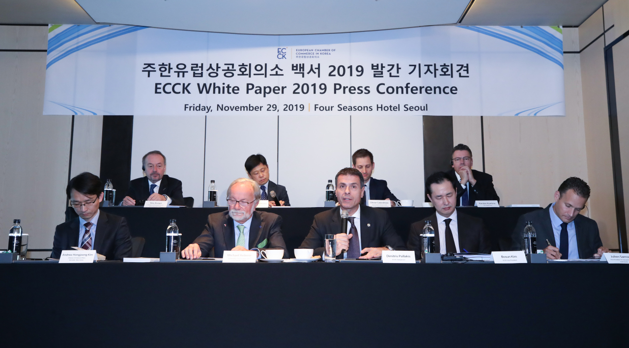 ECCK Chairperson Dimitris Psillakis (center, front row) speaks at the press briefing over the release of a 2019 white paper for European companies in Seoul on Friday. (Yonhap)