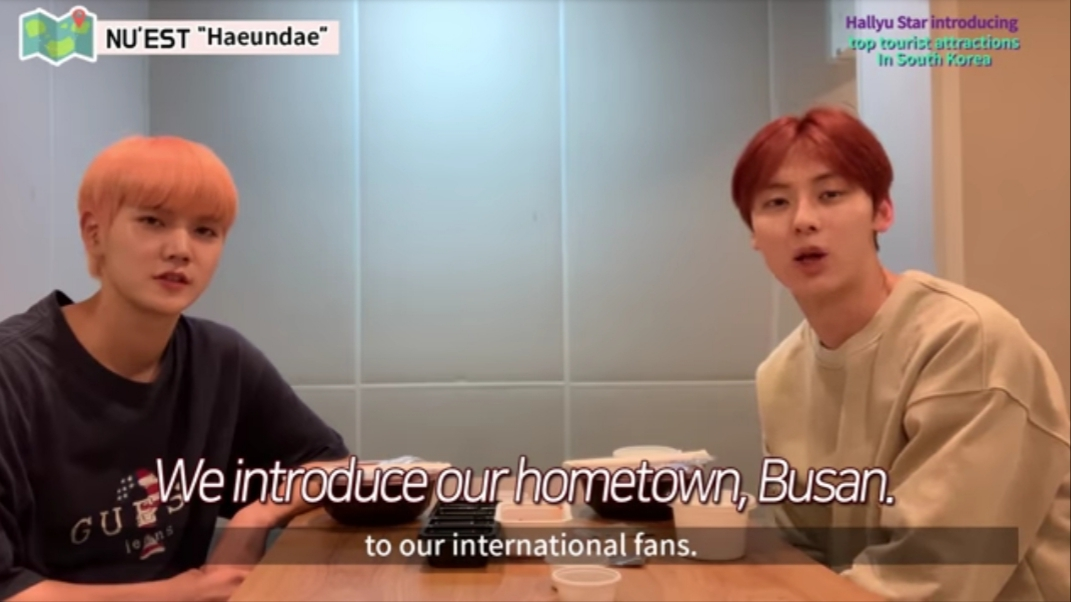 NU'EST members introduce their hometown, Busan, in a video clip. (Korea Tourism Organization' YouTube channel)