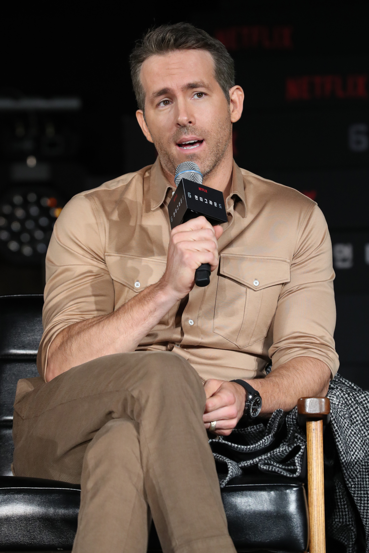 "Ryan Reynolds speaks during a press conference for ""6 Underground"" in Seoul on Monday. (Yonhap)"