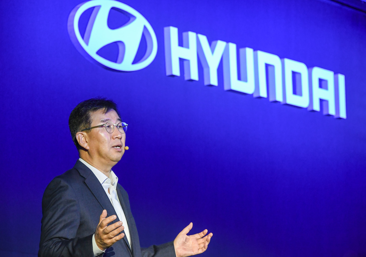 Hyundai Motor CEO Lee Won-hee speaks during the CEO Investor Day forum, which invited stakeholders and took place in Yeouido, Seoul, Wednesday. (Hyundai Motor Group)