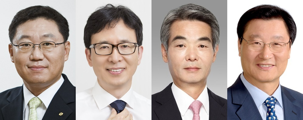 Candidates for the fifth KOFIA chairman election: Daishin Securities CEO Na Jae-chul (left), Hana Financial Investment Executive Managing Director Seo Jae-ik (second to the left), former IBK Securities CEO Shin Seong-ho (third to the left) and KTB Asset Management Vice Chairman Jung Ki-seung (from each firm)