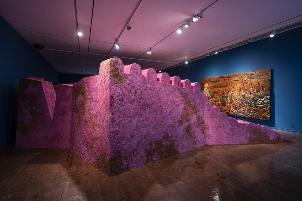 "Wael Shawky's ""Cabaret Crusades: Wall #5"" (2019) is shown at the Seoul Museum of Art's exhibition ""Gohyang: Home"" (SeMA)"