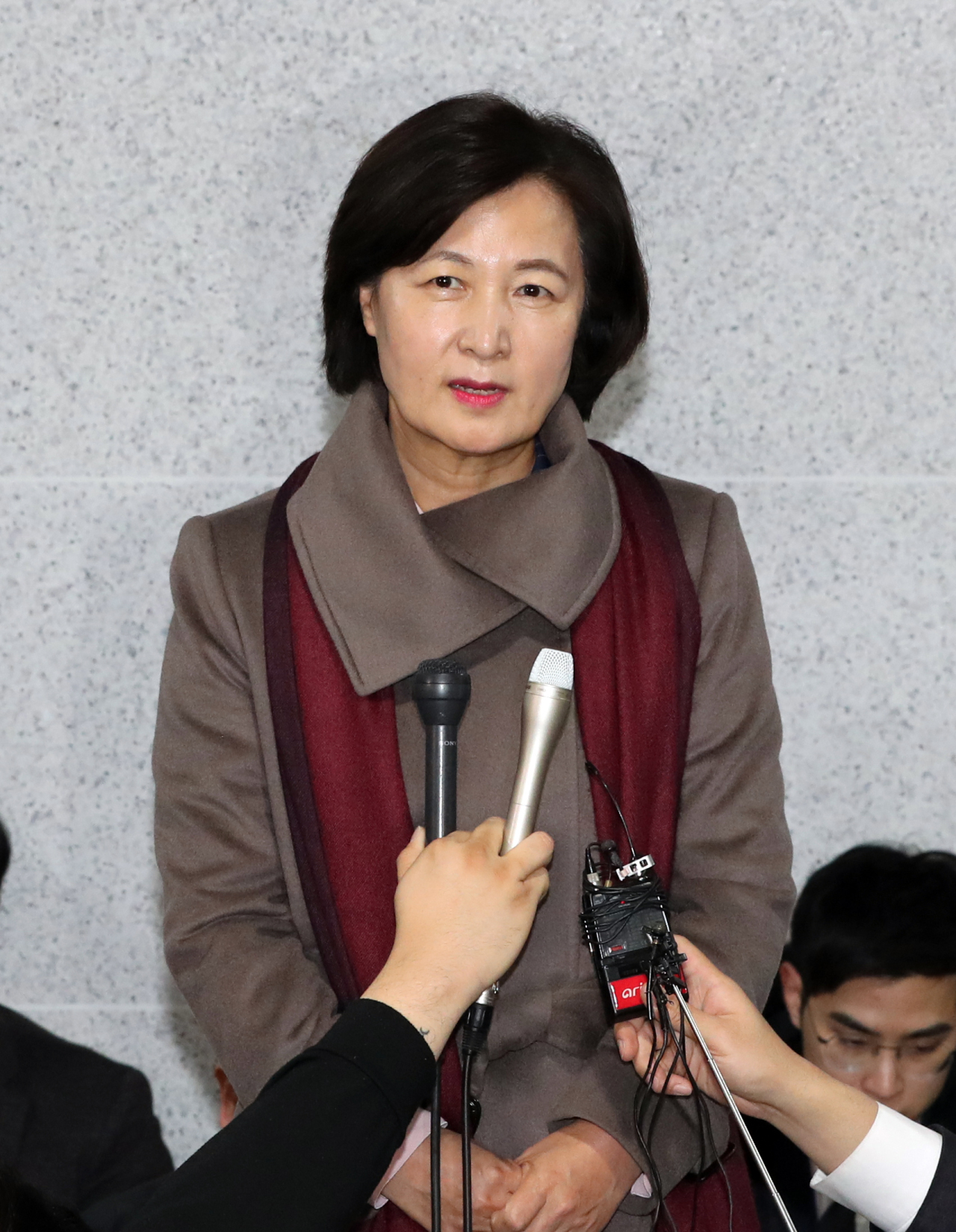 Choo Mi-ae, nominee for South Korea's justice minister, addresses reporters. (Yonhap)