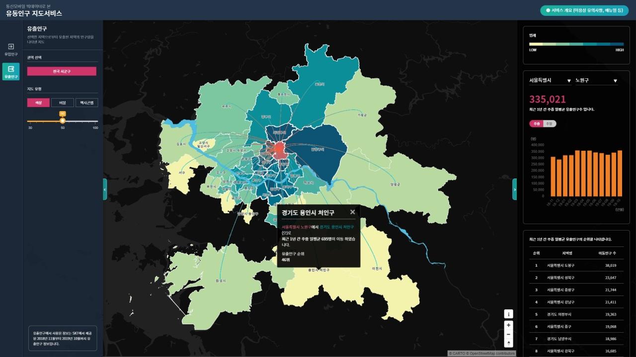 Foot traffic map (SK Telecom)