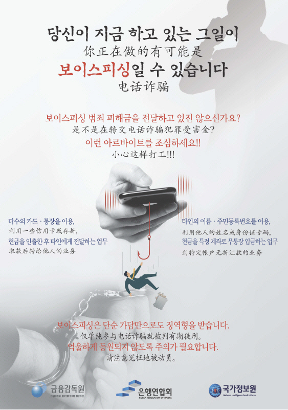 A campaign poster is aimed at preventing foreigners' participation in voice phishing crimes. (FSS)