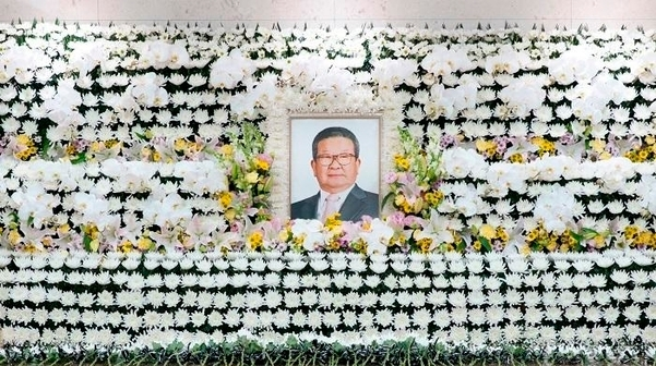 LG Group Honorary Chairman Koo Cha-kyung's funeral altar set up at an undisclosed hospital in Seoul (LG Group)