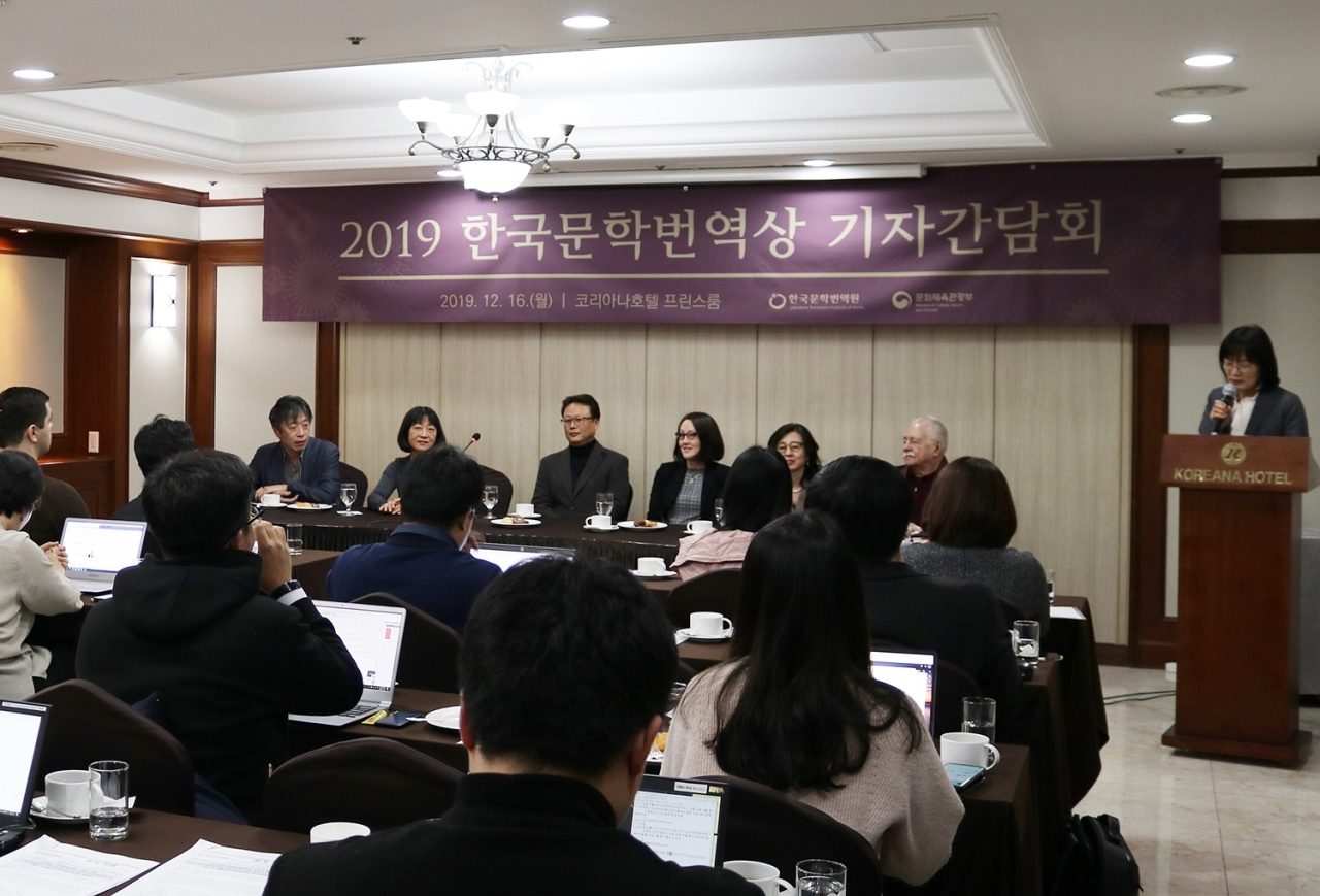 The 17th LTI Korea Translation Award winners attend a press conference on Monday at the Koreana Hotel in Seoul. (LTI Korea)
