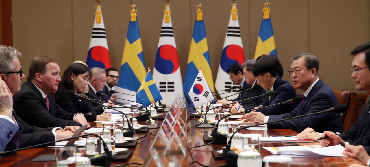 South Korea and Sweden hold a summit meeting in Seoul on Wednesday. Yonhap