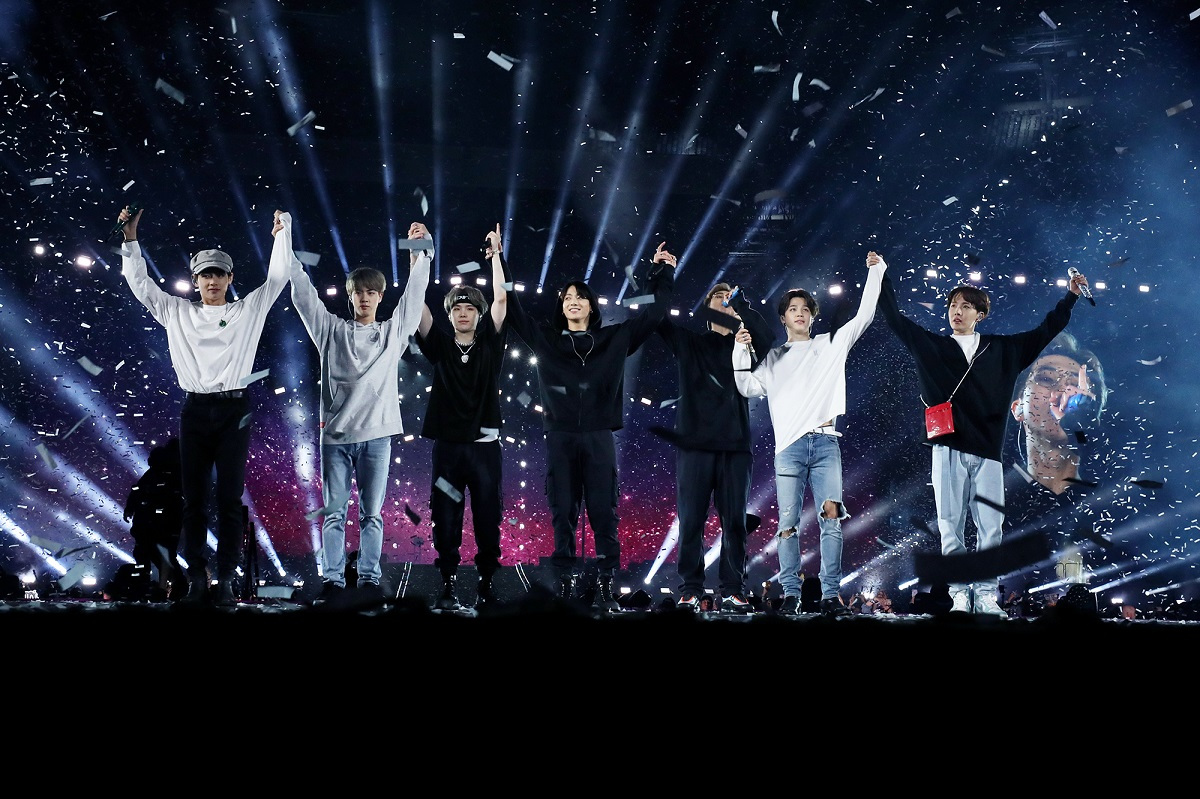 """BTS performs at the MetLife Stadium in New Jersey, as part of their world tour """"Love Yourself: Speak Yourself."""" (Big Hit Entertainment)"""