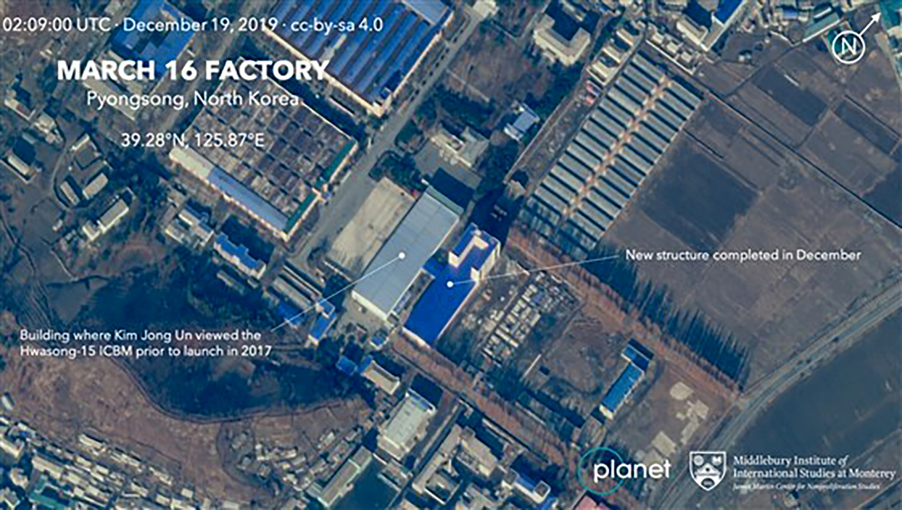Satellite image of a North Korean facility used for constructing missile launching equipment revealed by Planet Labs, a US-based satellite image provider. Yonhap