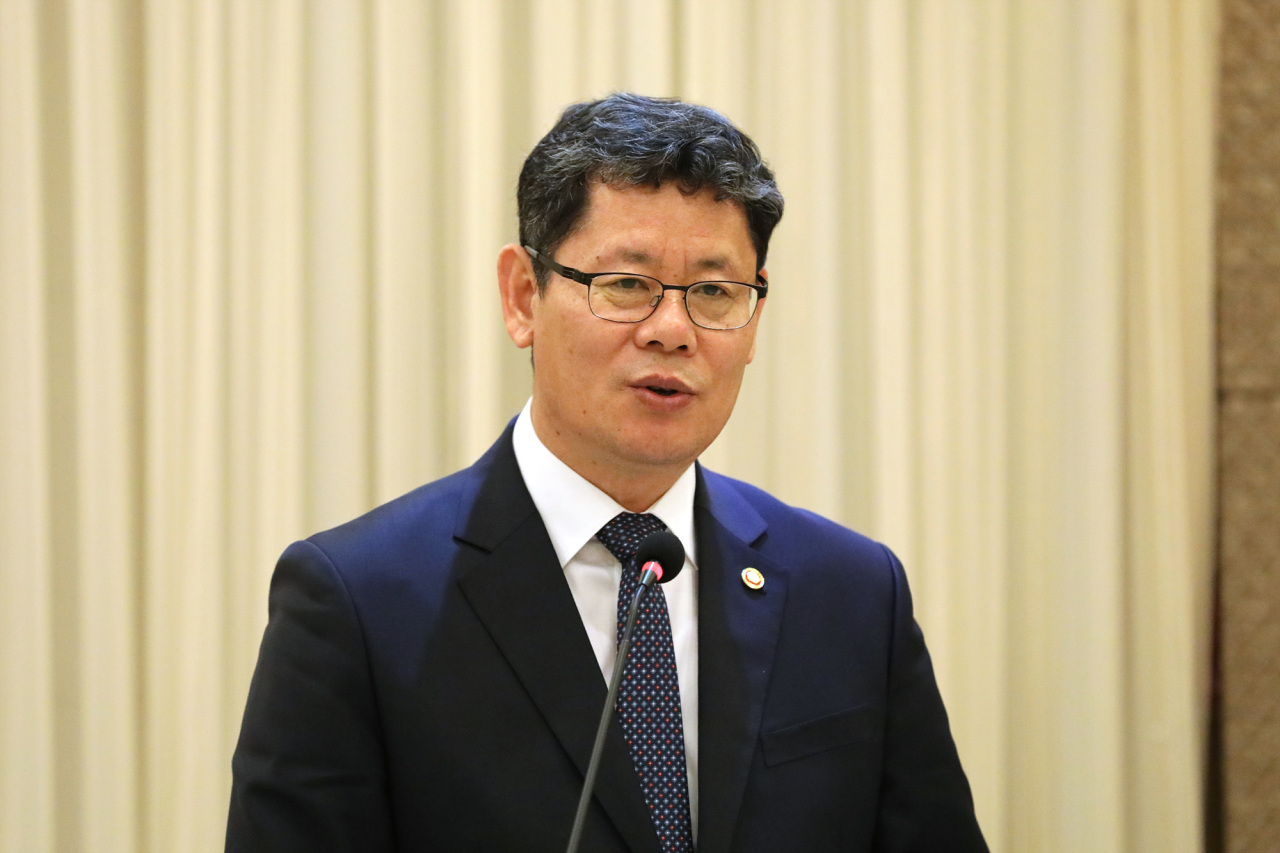 South Korean Unification Minister Kim Yeon-chul speaks during a press conference held in Seoul on Thursday. (Ministry of Unification)