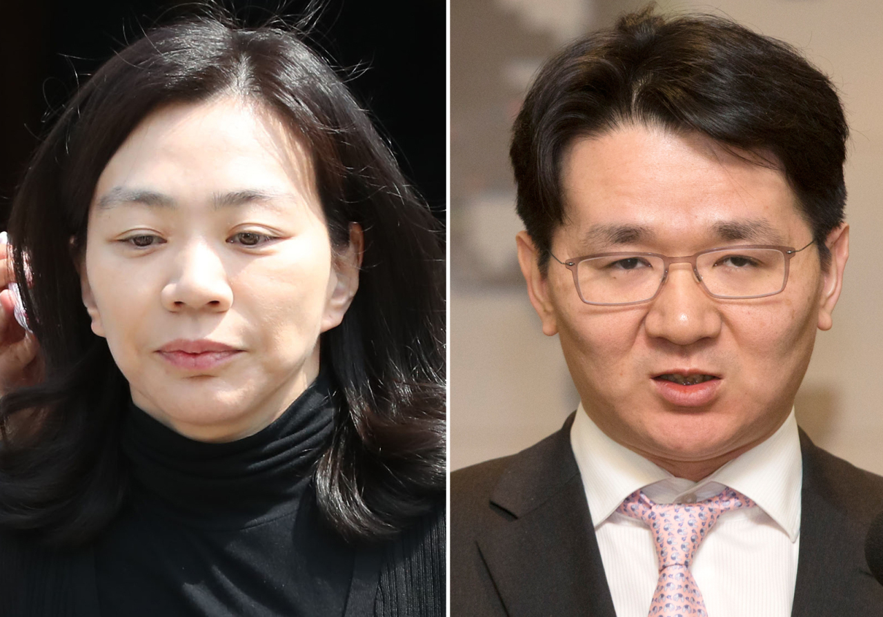 Cho Hyun-ah, the former vice president of Korean Air (left) and Cho Won-tae, Hanjin Group's chairman. (Yonhap)