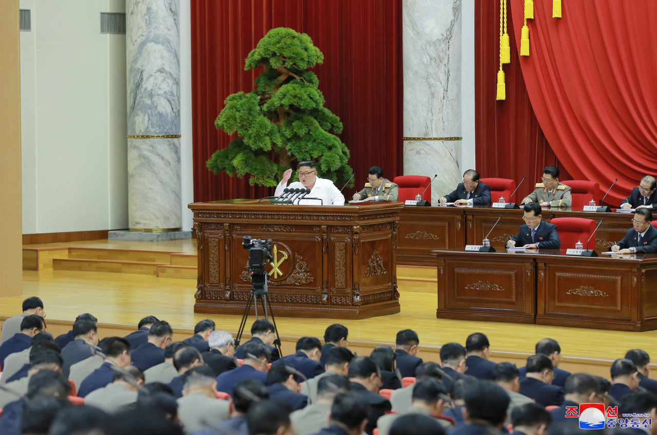 North Korean leader Kim Jong-un is shown speaking at the ruling party`s plenary session in an image released by North Korea`s statement media on Tuesday. (Yonhap)