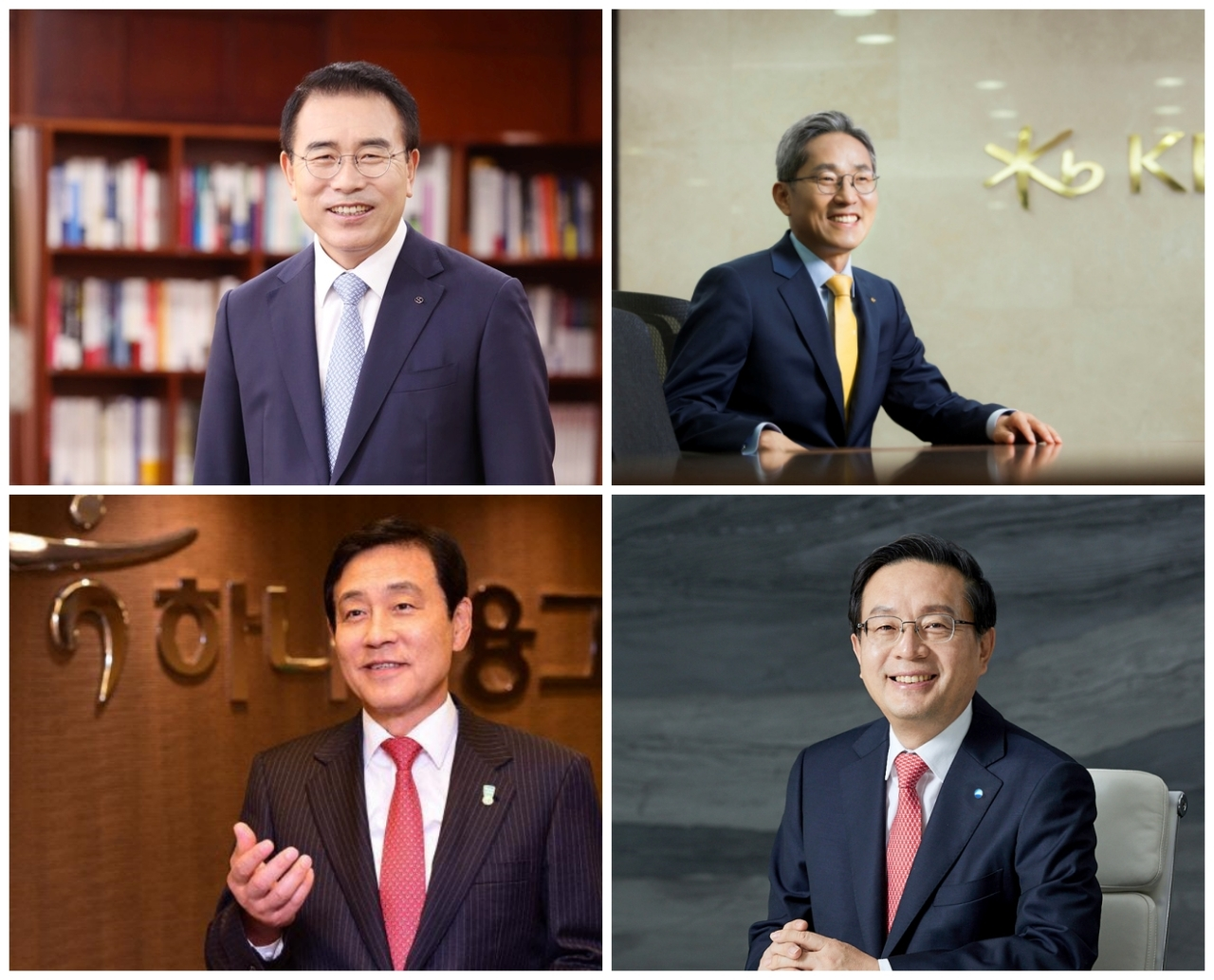(Clockwise from top left) Shinhan Financial Group Chairman Cho Yong-byoung, KB Financial Group Chairman Yoon Jong-kyoo, Woori Bank CEO Sohn Tae-seung and Hana Financial Group Chairman Kim Jung-tai.