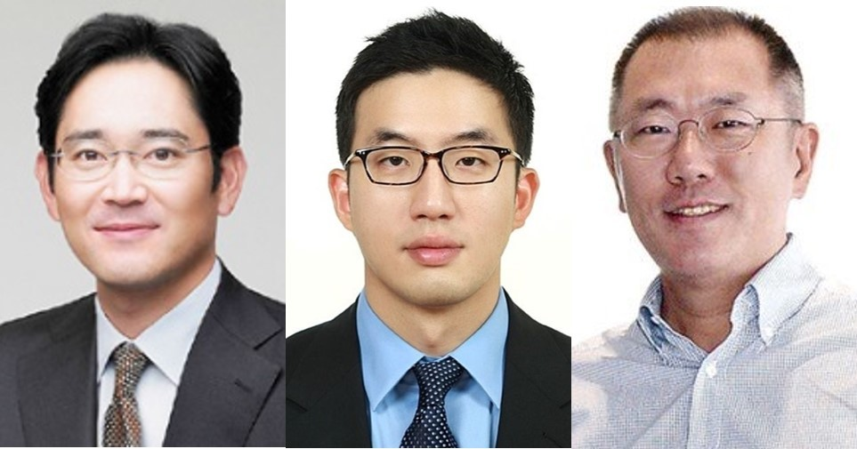 Samsung Electronics Vice Chairman Lee Jae-yong (from left), LG Group Chairman Koo Kwang-mo, Hyundai Motor Executive Vice Chairman Chung Euisun