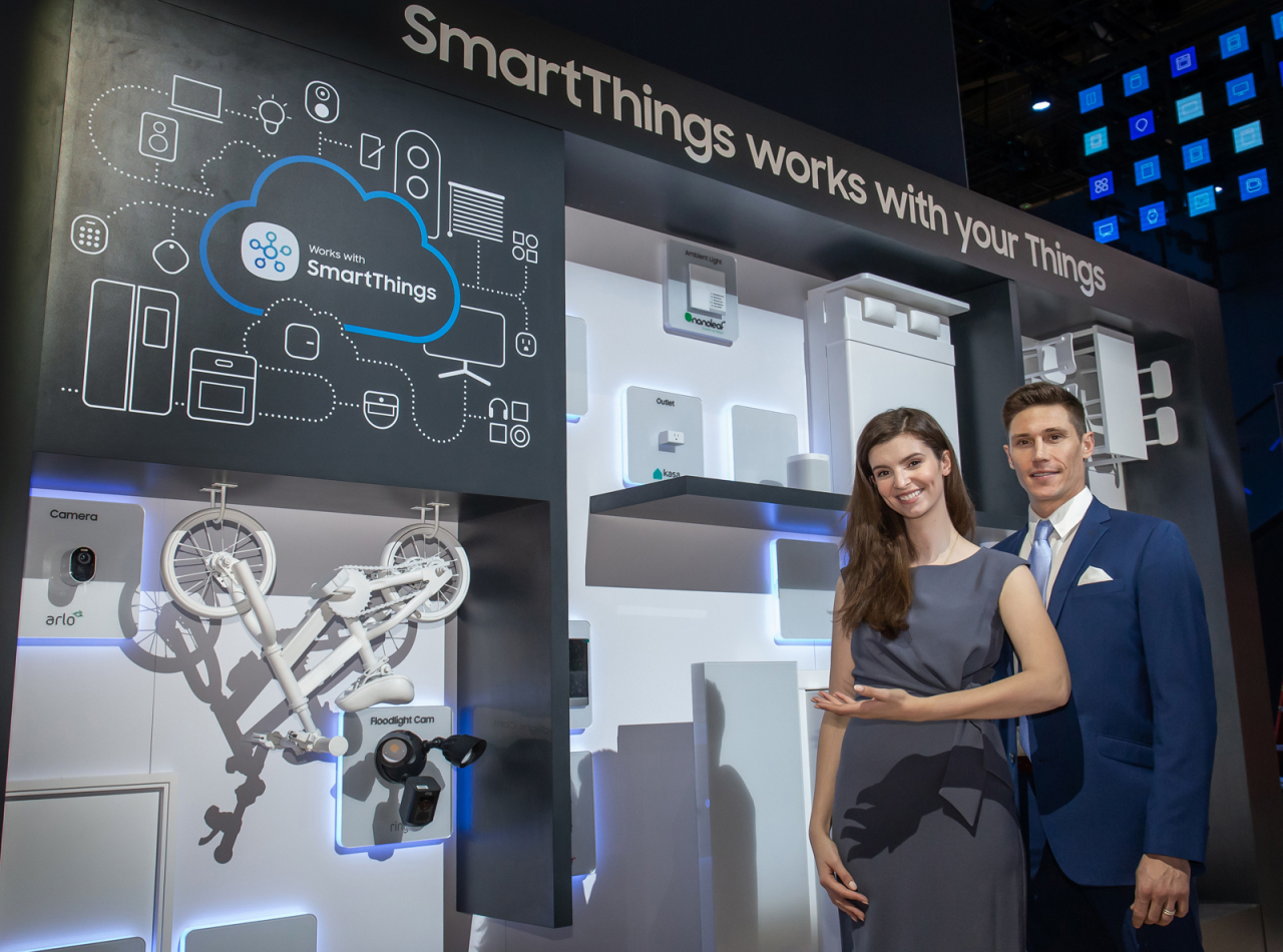 Samsung Electronics presents SmartThings hub for Internet of Things devices at CES 2020. (Samsung Electronics)