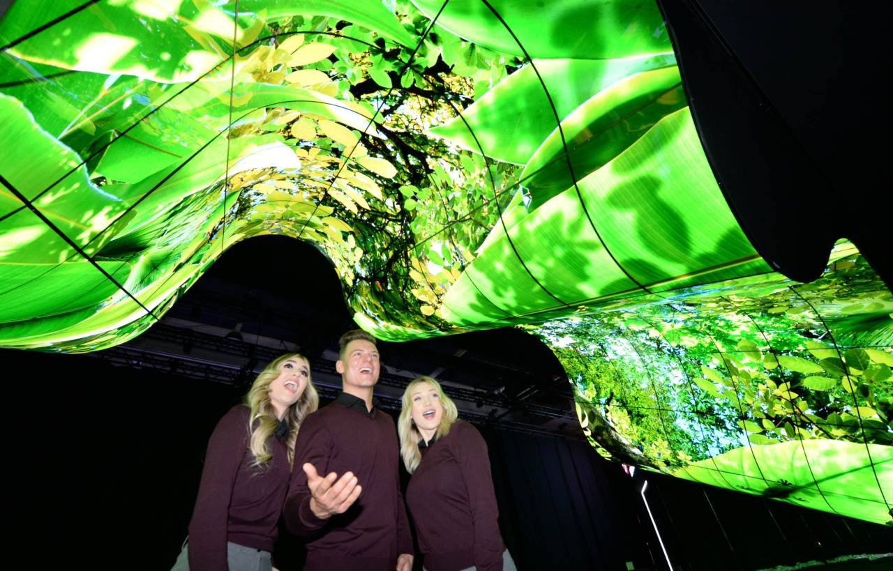 "LG Electronics displays an assembly of more than 200 OLED flexible sinage ""New Wave"" at CES 2020 in Las Vegas. (LG Electronics)"