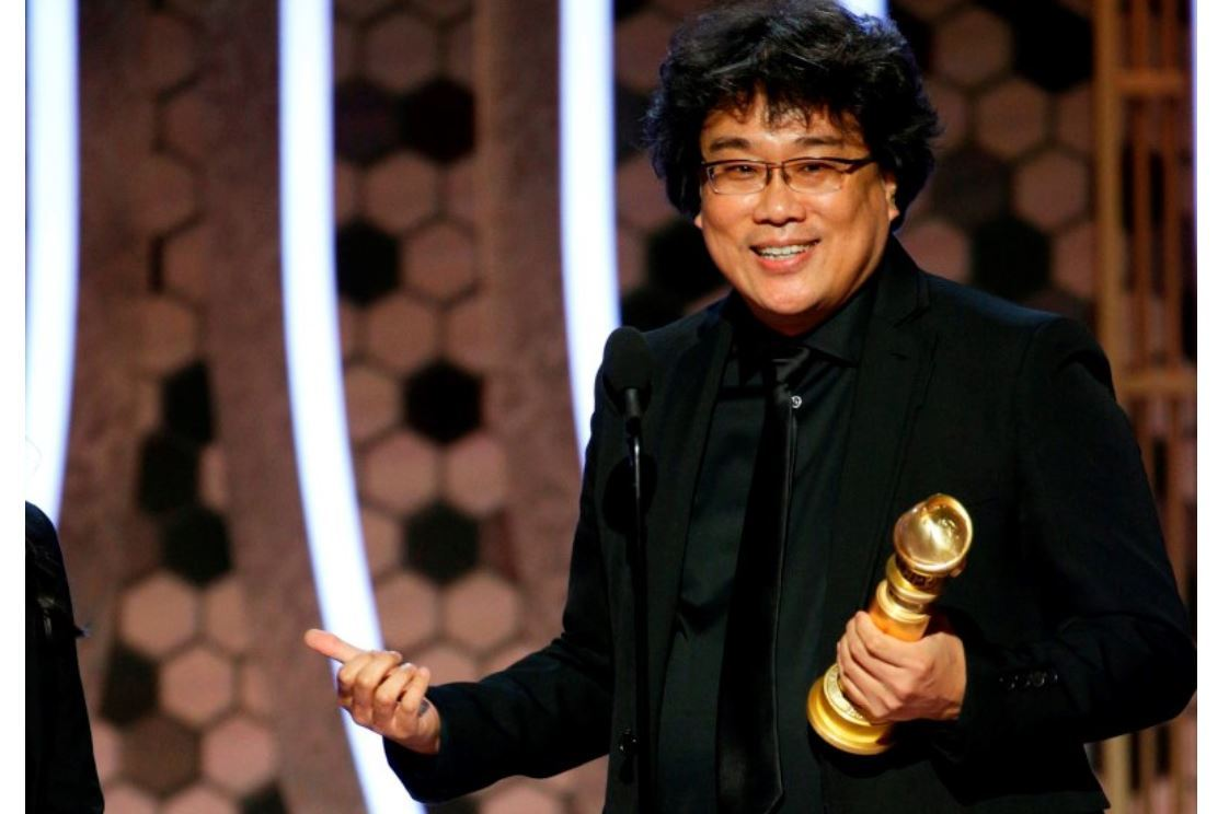 Director Bong Joon-ho receives award for Best Foreign Language Film at the 77th Golden Globe Awards ceremony held at the Beverly Hilton Hotel in Beverly Hills, California, on Jan. 5. (AP)